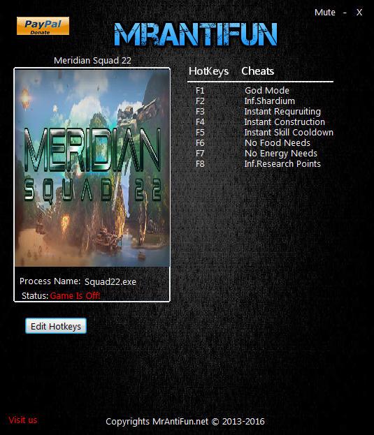 Meridian Squad 22 V0.96 Trainer +8 MrAntiFun