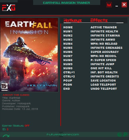 Earthfall Invasion v20181004 (+13 Trainer) FutureX