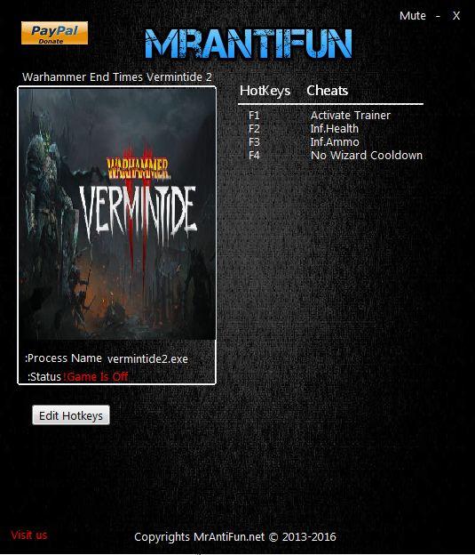 Warhammer End Times Vermintide 2 V1.0.4.2 Trainer +3 MrAntiFun