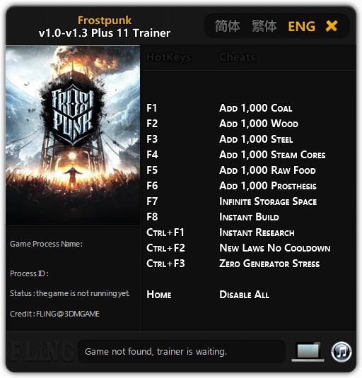 Frostpunk Trainer +11 V1.0-V1.3 FLiNG