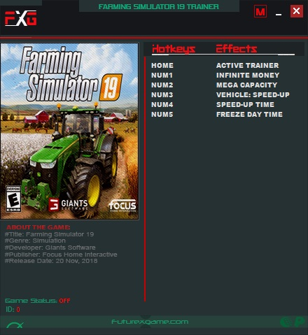 Farming Simulator 19 Trainer +5 v1.1.0.0_v17801_V19830 FutureX