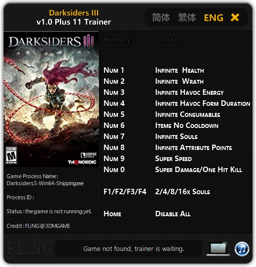Darksiders 3 Trainer +11 v1.0 FLiNG