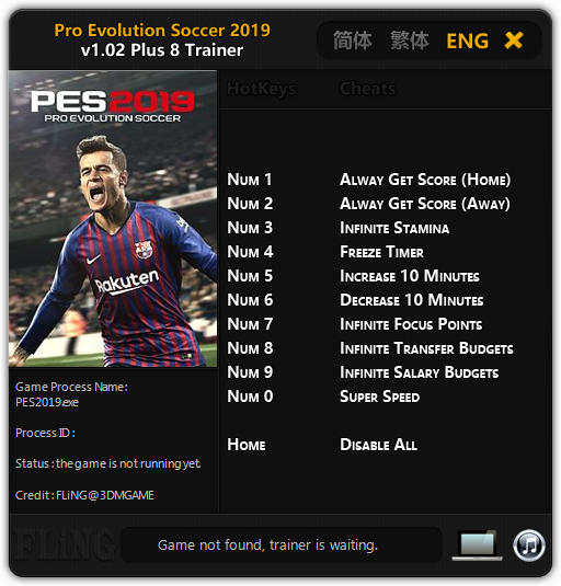 Pro Evolution Soccer 2019 v1.02 +8 Trainer FLiNG